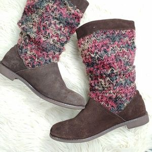 TOMS SLOUCHY SUEDE /FABRIC BOOT SZ 8